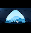 morning view from tent in mountains hiking and vector image