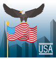 nice eagle with american flag in the city vector image vector image