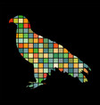 orlan hawk bird mosaic color silhouette animal vector image