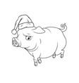outline of the big pig with santas hat on his head vector image