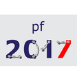 pf 2017 - blue red with plates and screws vector image vector image