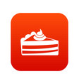 piece of cake icon digital red vector image