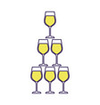 pyramid of glass flute goblets alcoholic champagne vector image