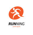 running logo with abstract runner silhouette vector image vector image