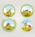 rural landscapes label set with village and fields vector image vector image