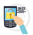 security cellphone with padlock app inside vector image