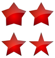 Set Of Red Glossy Stars Icon Design vector image vector image