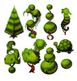 set of trimmed shrubs in the shape of animals for vector image vector image