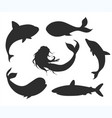 set underwater life silhouettes with mermaid vector image vector image