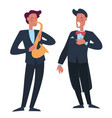 trumpet player accompanying man singer with opera vector image vector image