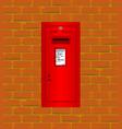 wall mounted red post box vector image vector image