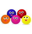colorful baby balls with smiley face on white vector image