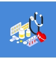 Medical Instruments and Pills Flat Isometric vector image