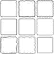 set Nine square ornamental frames Black on a white vector image