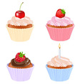 4 cupcakes vector image vector image
