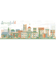 Abstract Springfield Skyline with Color Buildings vector image vector image