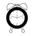 alarm clock black color section silhouette on vector image