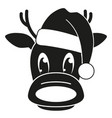 black and white reindeer head in hat silhouette vector image