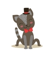 Black Little Girly Cute Kitten Wearing Top Hat And vector image vector image