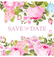 blooming rose branch on the top of invitation card vector image