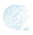 broken wireframe sphere fractured geometric form vector image