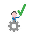 businessman character sitting on gear and holding vector image vector image