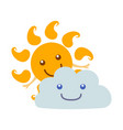 cartoon character weather forecast sun and cloud vector image vector image