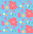 cartoon cute pattern with colorful doodle flowers vector image vector image