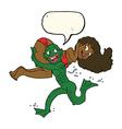 cartoon swamp monster carrying girl in bikini with vector image vector image
