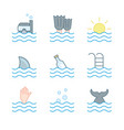 collection of waves icons symbols vector image vector image