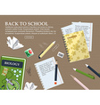 Composition back to school with schoolbook vector image vector image