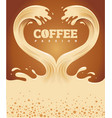 couple coffee waves creating heart shape vector image