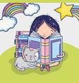 cute girl reading a book cartoon vector image