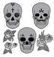 day dead set skulls with roses and vector image vector image