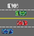 different cars top view position set on the road vector image vector image