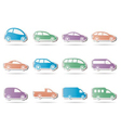 different types of cars icons vector image vector image