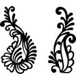 ethnic flower black silhouette on a white backdrop vector image vector image