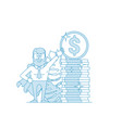 financial consultant or investor points to a stack vector image