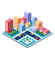 flat isometric map vector image vector image