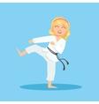 Girl In White Kimono Doing Leg Sidekick On Karate vector image