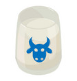 glass milk icon isometric 3d style vector image