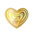 gold tin can heart with ring pull top view vector image vector image