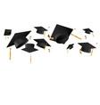 graduation caps in air template vector image