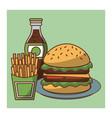 hamburger fast food combo vector image