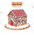 hand drawing christmas gingerbread house vector image