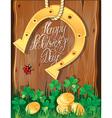 Happy St Patricks Day Shamrock horseshoe vector image