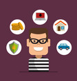 house thief security protection insurance vector image vector image