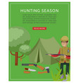 hunting season in forest banner with hunter vector image vector image
