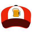 isolated hat with a beer icon vector image vector image