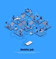 isometric banner mobile job vector image vector image
